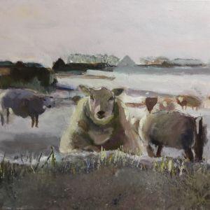 Olifant, Acryl op papier ca. 40 x 50 cm