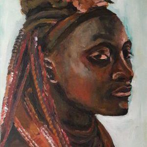 Himba vrouw, Acryl op doek 40 x 50 cm