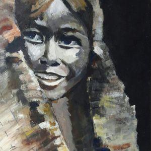 Native American girl, Acryl op doek 40 x 50 cm
