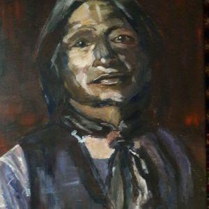 Native American in burgerkleding, Acryl op doek  40 x 50 cm