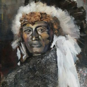 Native American Chief, Acryl op doek 40 x 50 cm   (verkocht)