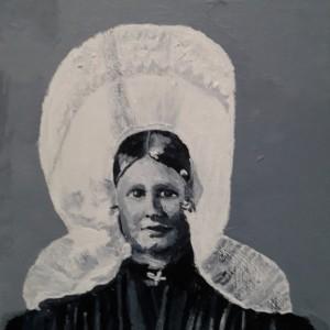Huizer vrouw, Acryl op doek 15 x 20 cm