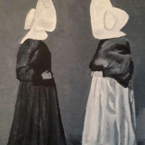 Huizer Vrouwen, acryl op doek 30 x 40 cm