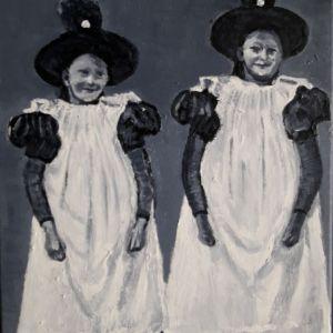 Huizer Meisjes, acryl op doek 30 x 40 cm