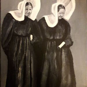 Huizer vrouwen ter kerke, acryl op doek 30 x 40 cm