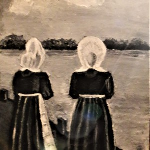 Huizer vrouwen aan de haven, Acryl op doek 15 x 20 cm