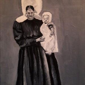 Op de arm, Acryl op doek 15 x 20 cm