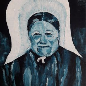 Huizer vrouw 1, Acryl op doek 15 x 20 cm