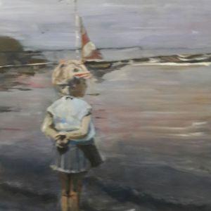 Aan het strand, Acryl op doek 40 x 50 cm