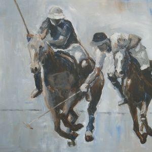 Polospelers, Acryl op doek 40 x 50 cm